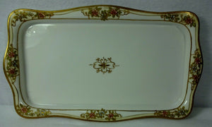"HANDPAINTED NIPPON Raised Gold Pink & Blue Flowers ICE CREAM Tray 13"" x 7-5/8"""