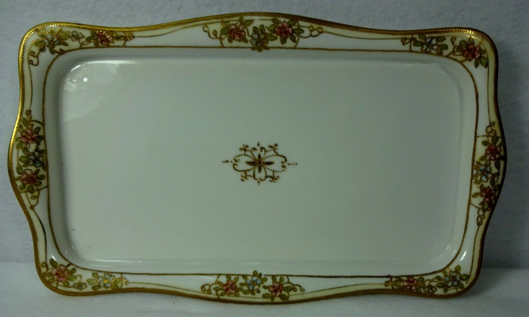 HANDPAINTED NIPPON Raised Gold Pink & Blue Flowers ICE CREAM Tray 13