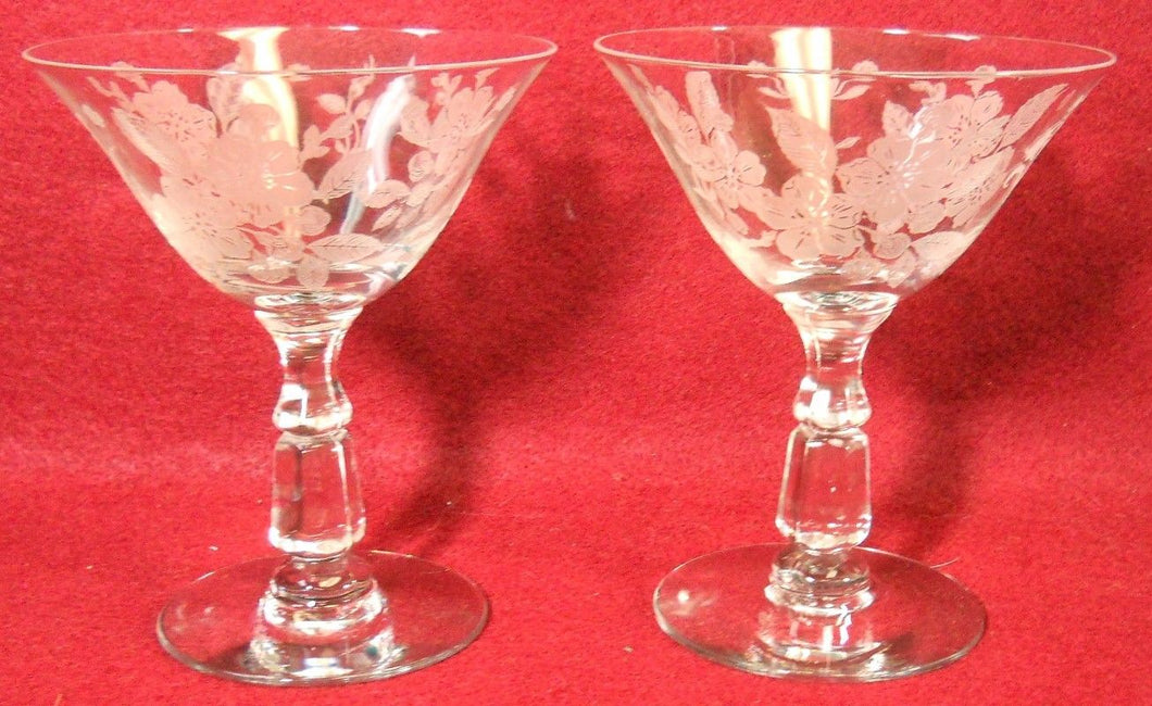 DUNCAN & MILLER crystal LANGUAGE OF FLOWERS Set of Two (2) Sherbet Champagnes