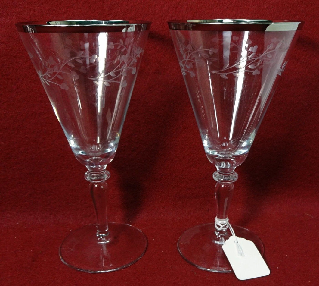 REIZART / GORHAM crystal LACE pattern Water Goblet Glass - Set of Two (2) - 7
