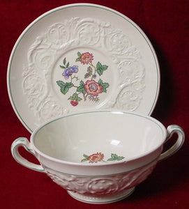 WEDGWOOD china TAPESTRY TMD440 pattern Cream Soup Bowl & Saucer