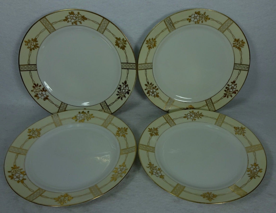 NORITAKE china GOLD ENCRUSTED FLOWERS pattern Set of 4 Salad Plates - 7-1/2