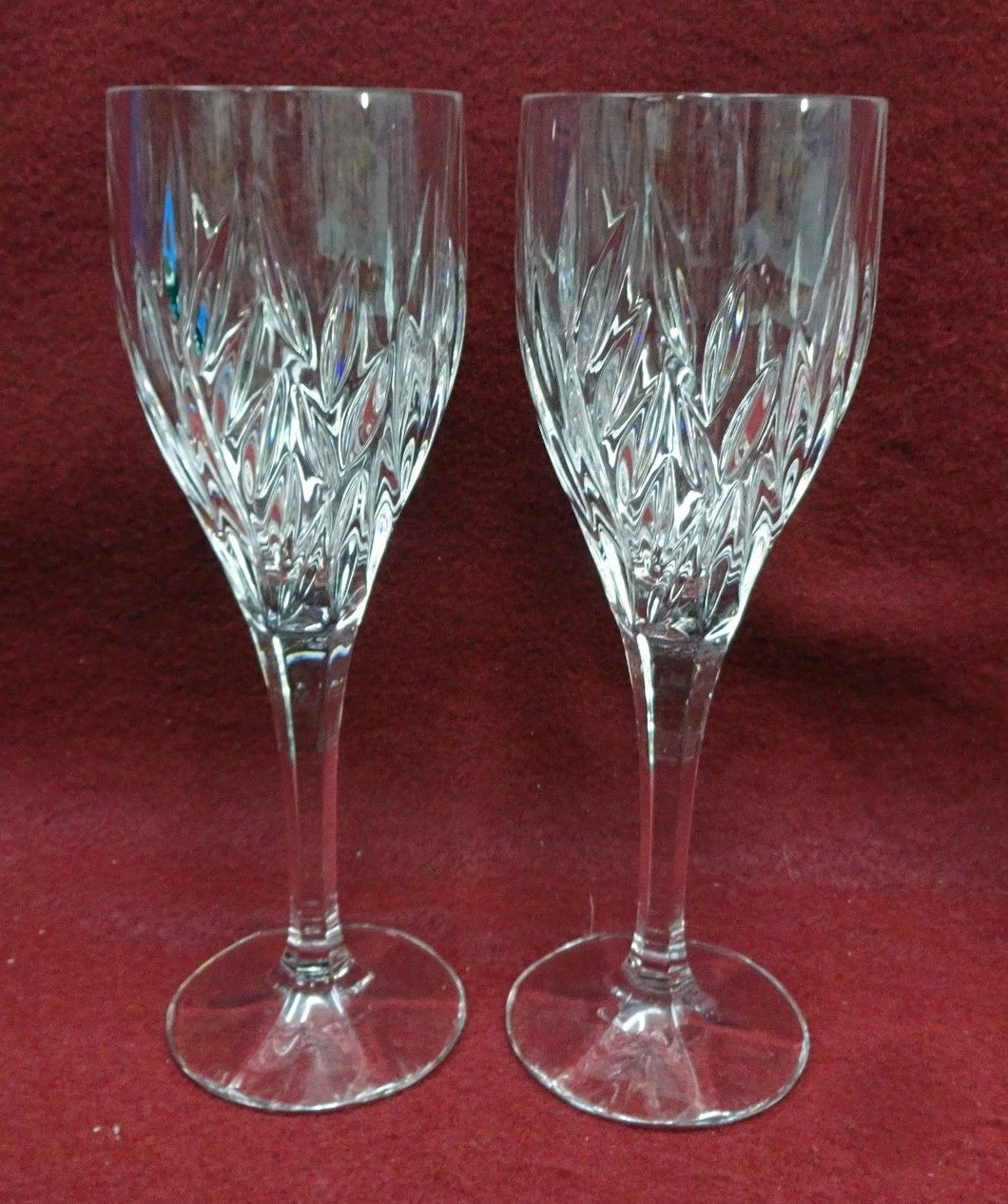 GORHAM crystal STAR BLOSSOM pattern Wine Goblet or Glass - Set of Two (2) 8-1/8