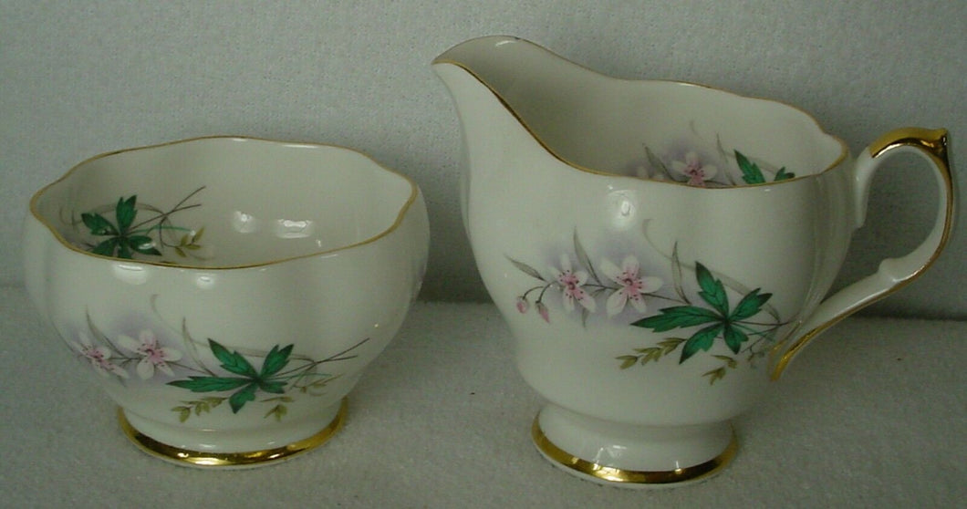 QUEEN ANNE England china LOUISE GREEN pattern Mini Creamer & Open Sugar Bowl Set