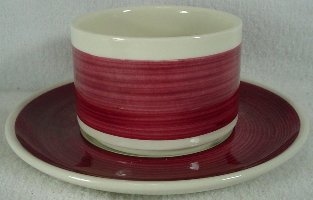 VILLEROY & BOCH china ZURICH Maroon CREAM SOUP BOWL & UNDERPLATE No Handles