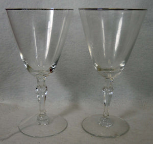 FOSTORIA crystal ENGAGEMENT-Platinum Trim Set of Two (2) Water Goblets @ 7""