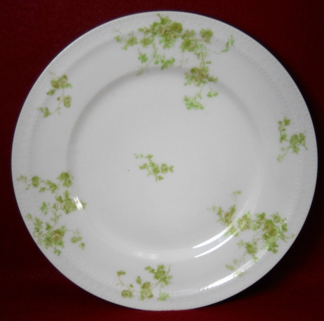 HAVILAND china SCHLEIGER 42N France GREEN FLOWERS Dinner Plate - 9-3/4