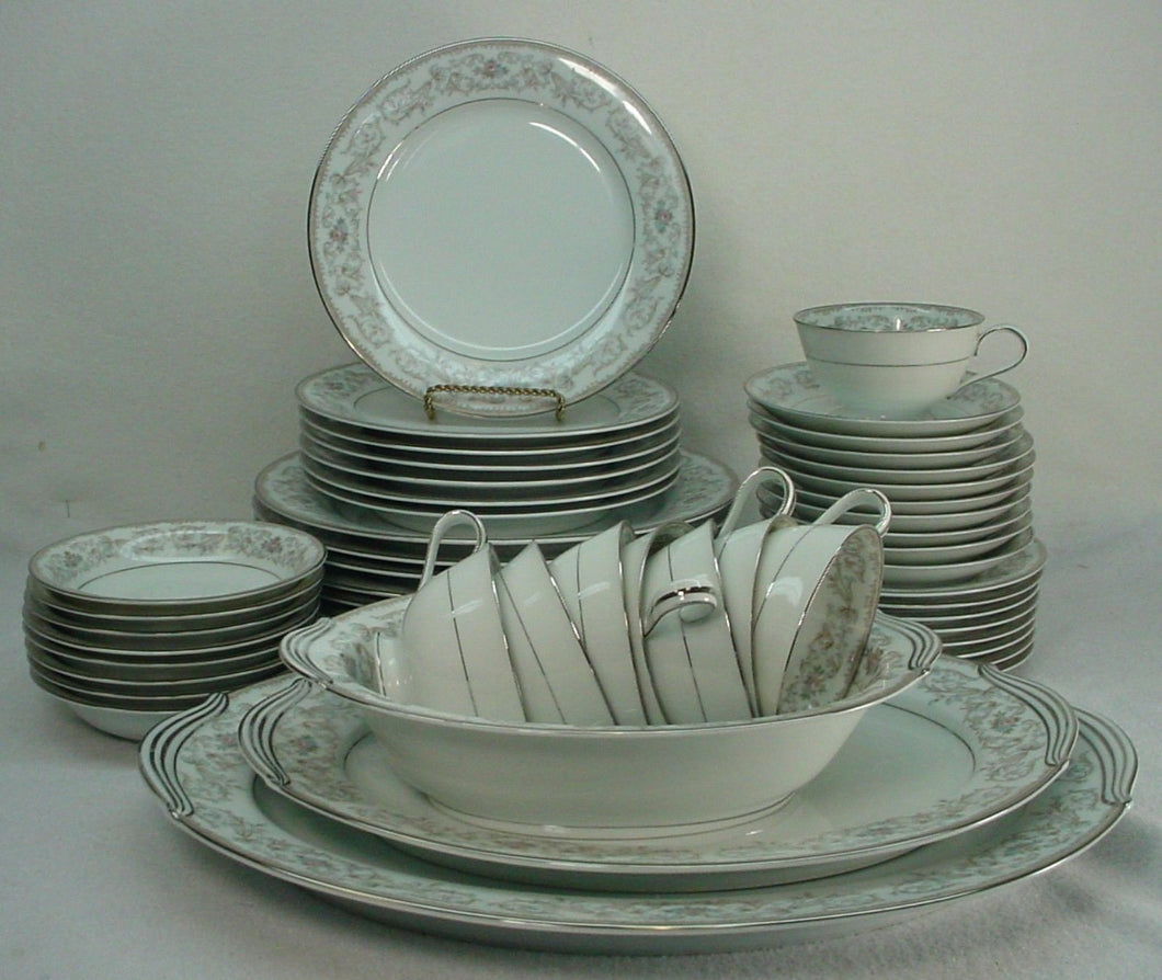 NORITAKE china WESTBROOK 185446 pattern 49-piece SET SERVICE for Eight (8)