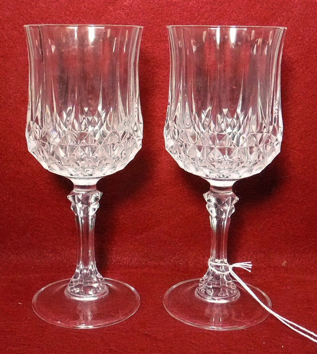 CRISTAL D'ARQUES Durand crystal LONGCHAMP Set of 2 Water Goblets Glasses 7-1/4