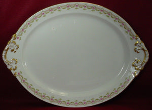 GUERIN, WM Limoges France GUE19 PINK ROSES Oval TURKEY Serving Platter - 18-3/8""