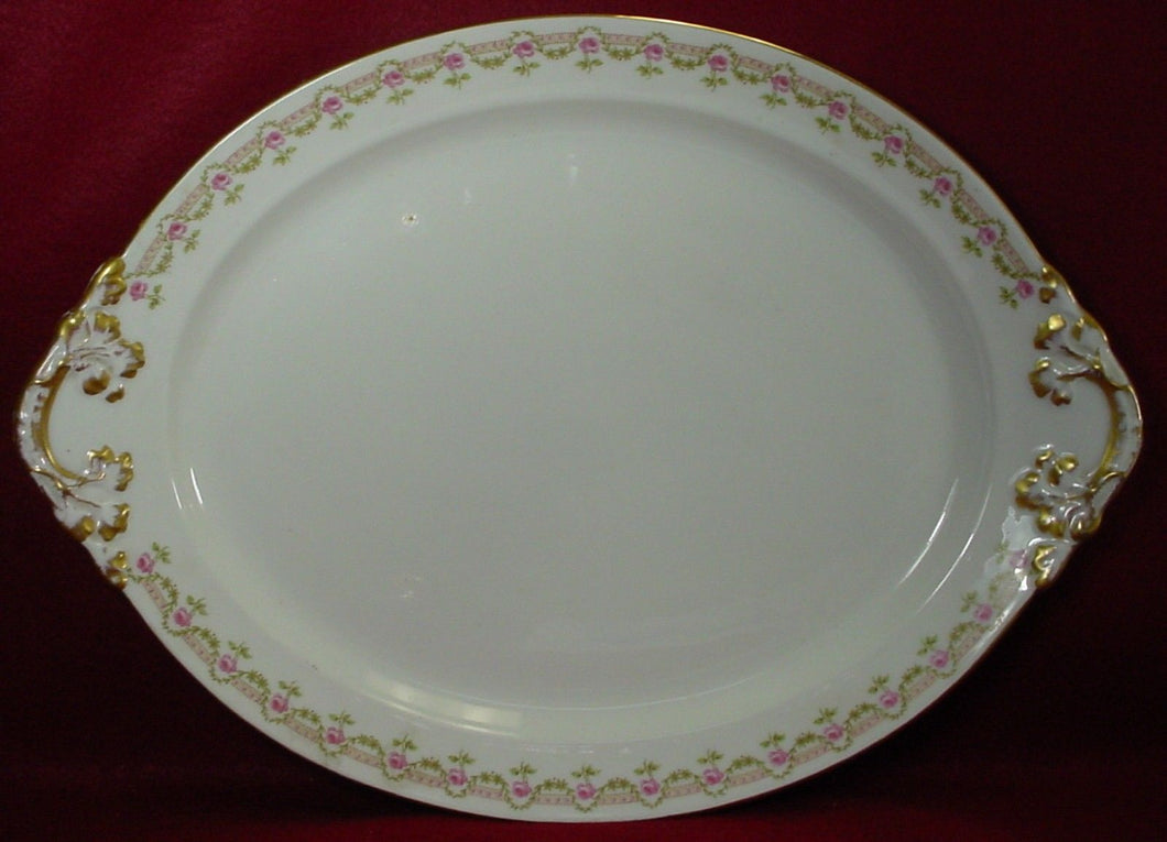 GUERIN, WM Limoges France GUE19 PINK ROSES Oval TURKEY Serving Platter - 18-3/8