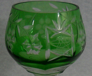 UNKNOWN crystal UNK2850 VINEYARD Grape GREEN pattern Cordial Goblet Glass 5-3/4""