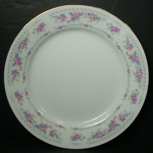 BAUM BROTHERS china BAU3 Pink Purple Yellow Flowers Set of 4 SALAD PLATES 7-5/8""