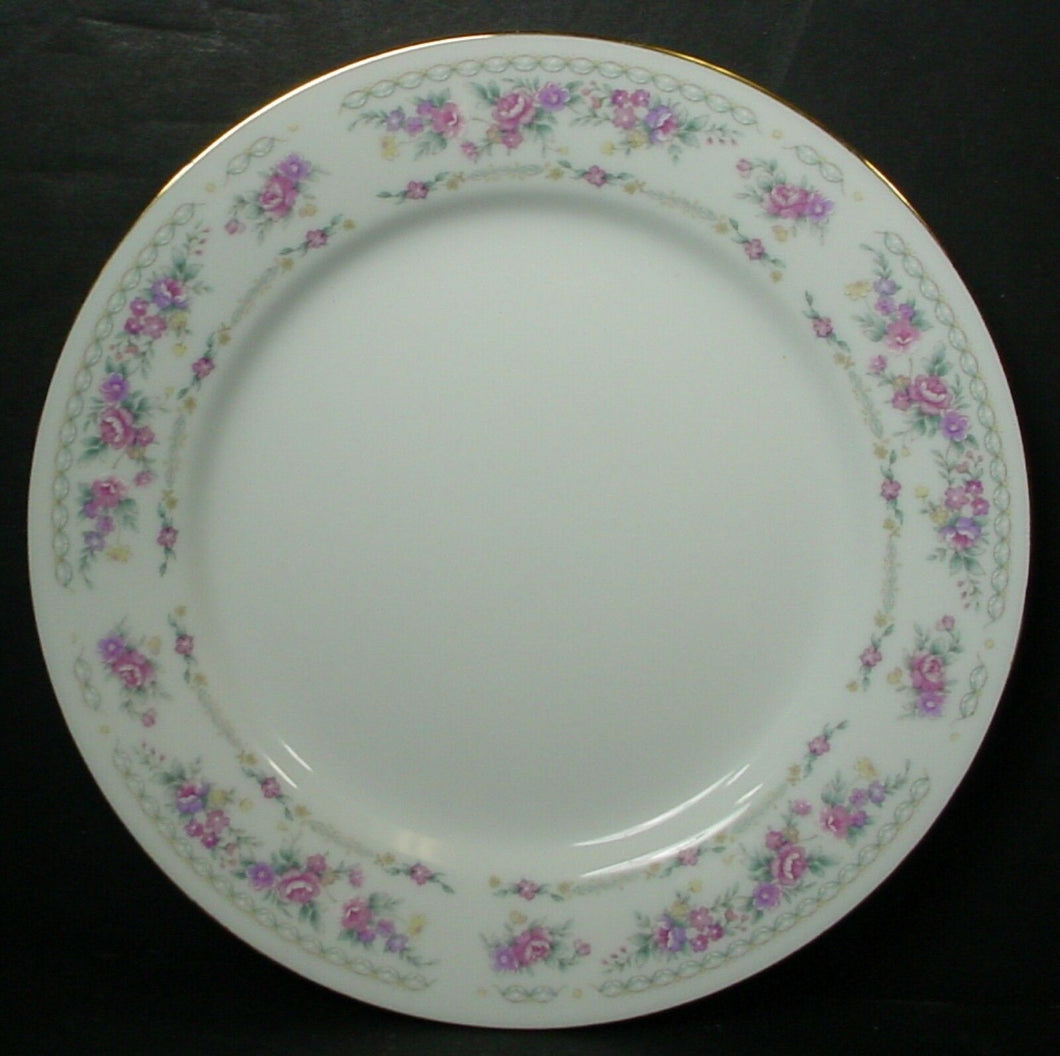 BAUM BROTHERS china BAU3 Pink Purple Yellow Flowers Set of 4 SALAD PLATES 7-5/8