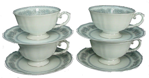 FRANCONIA Bavaria china ARGENTA pattern Cup & Saucer - Set of Four (4) @ 2 1/4