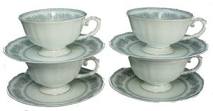 FRANCONIA Bavaria china ARGENTA pattern Cup & Saucer - Set of Four (4) @ 2 1/4""