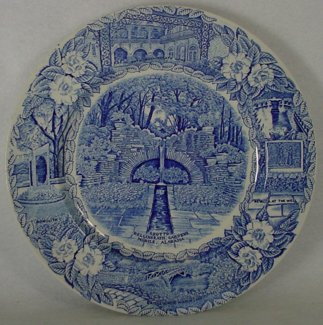 ADAMS china GROTTO BELLINGRATH GARDENS Blue DINNER or DISPLAY PLATE 10