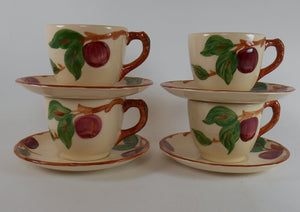 FRANCISCAN china APPLE USA pattern Set of Four (4) Cups & Saucers - bkstmps vary
