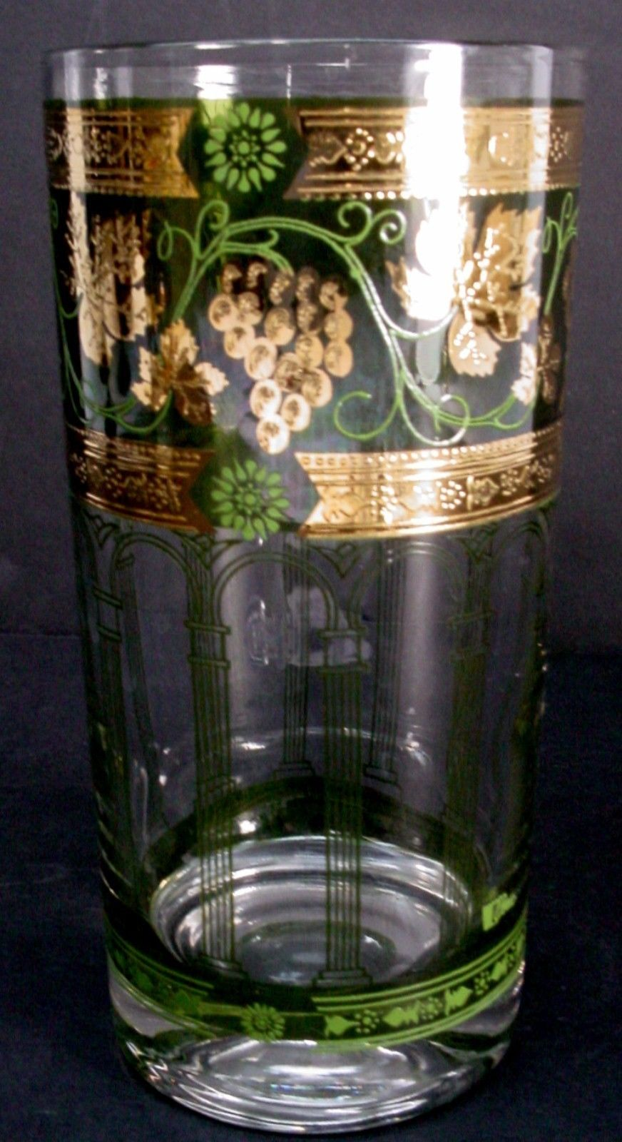 CERA GLASS crystal GRAPES Green HIGHBALL GLASS 5-5/8