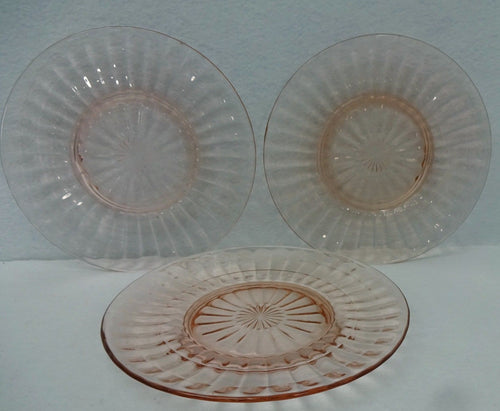 ANCHOR HOCKING Glassware BLOCK OPTIC PINK Set 3 STAR CENTER Salad Plates 8-1/4