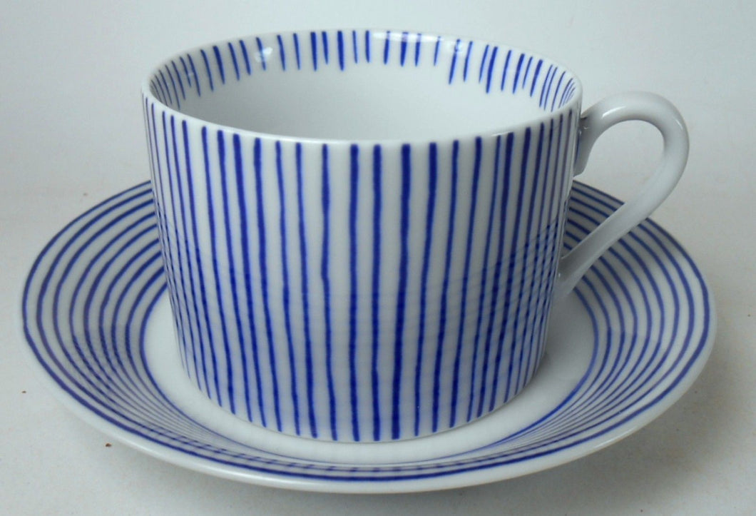 FITZ & FLOYD china LES BANDS - BLUE pattern CUP & SAUCER Set Cup 2