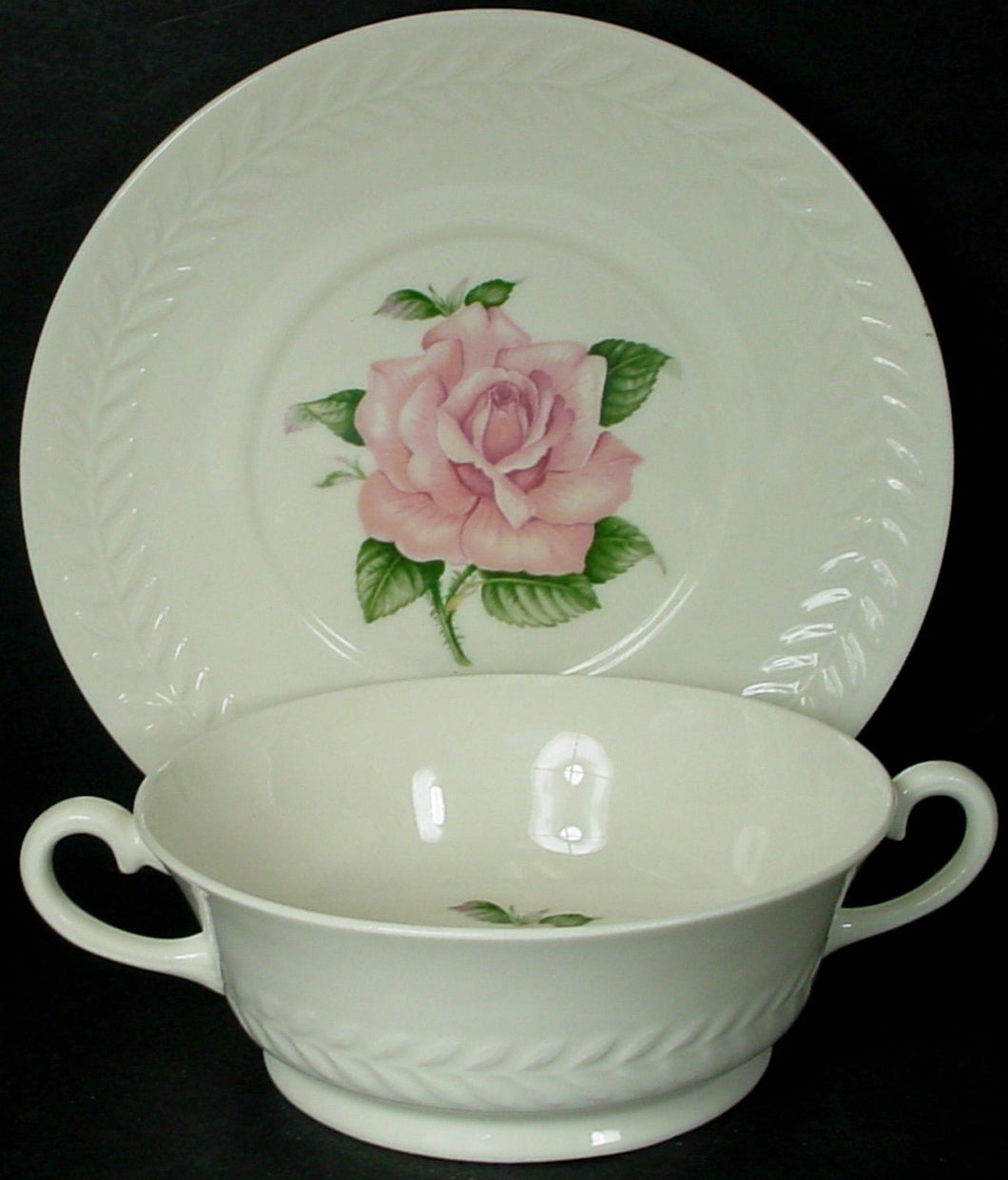 HAVILAND china REGENTS PARK ROSE pattern CREAM SOUP BOWL & SAUCER underplate
