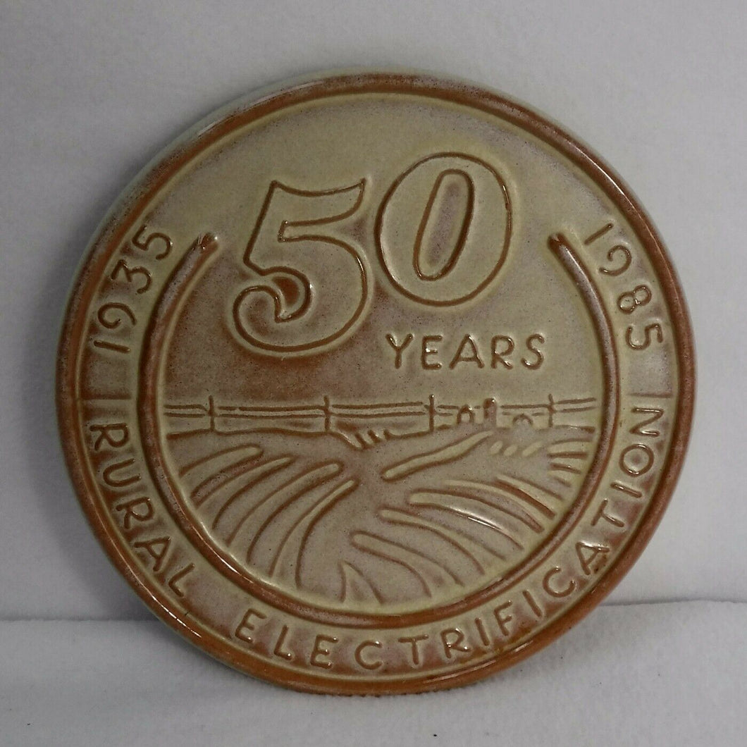 FRANKOMA pottery TRIVET #7 - 50 Years Rural Electrification 1935 - 1985