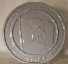 FRANKOMA pottery TRIVET #39 BUSH - QUAYLE VICTORY 1988 Sooner State - Light Blue