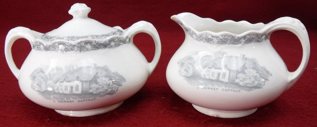 OLD HALL china COUNTRY SIDE GRAY pattern CREAMER & SUGAR BOWL with LID