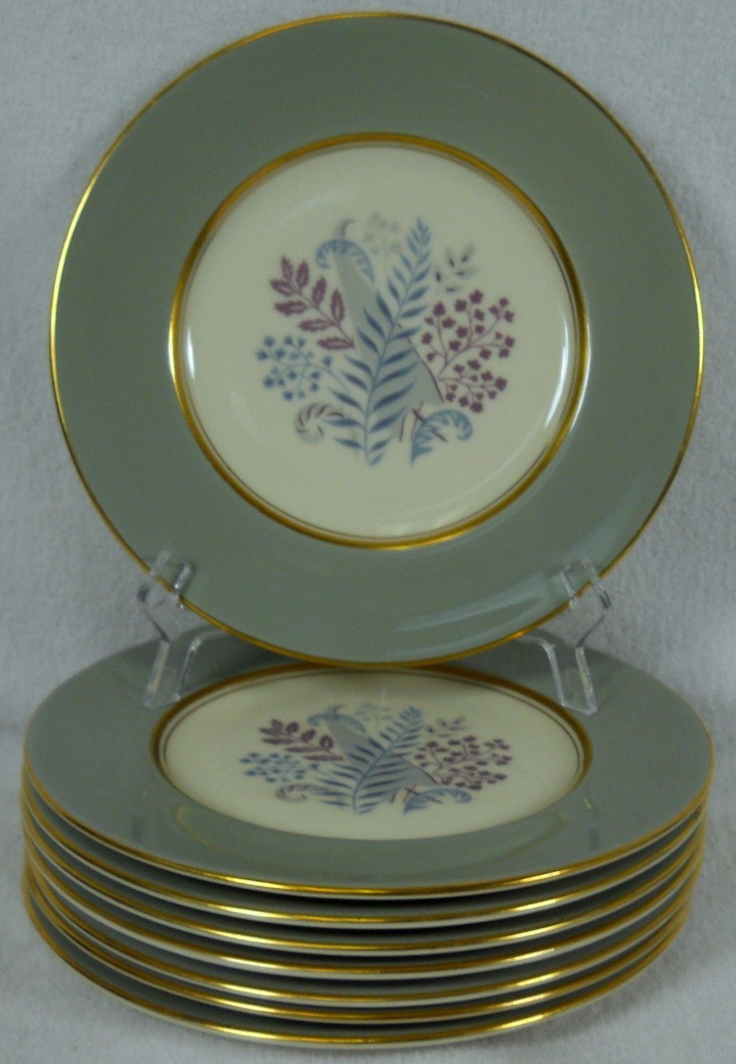 CASTLETON china FERNMERE pattern Bread Plate - Set of Eight (8) @ 6-1/4