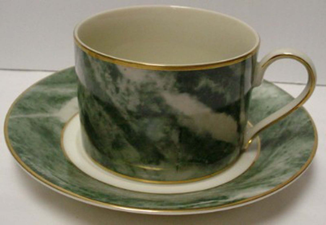MIKASA china TRAVERTINE GREEN L2112 pattern Cup & Saucer