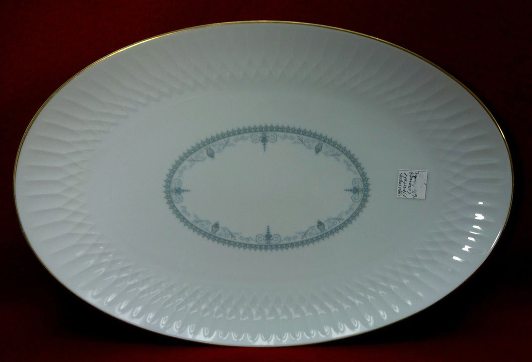 NORITAKE china LORENZO #6351 Large Oval Serving Meat Platter - 16-1/4