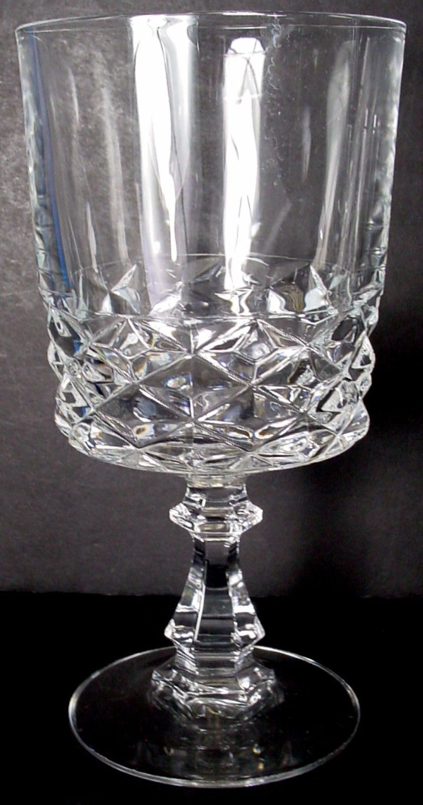 CRISTAL D'ARQUES Durand crystal DIAMOND pattern WATER GOBLET 6-1/4