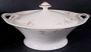 HAVILAND china PINK SPRAY new york ROUND Covered VEGETABLE Serving BOWL & LID