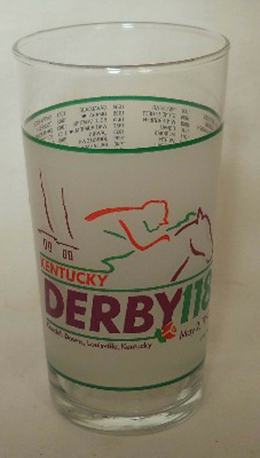 KENTUCKY DERBY Glass 1992