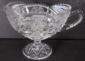 "Unknown Manufacturer GLASS - Footed Gravy or Sauce Boat @ 5"" tall x 8"" long"