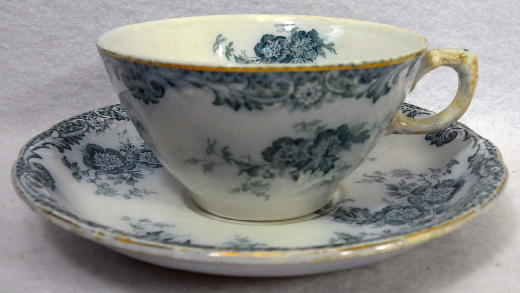 ALFRED MEAKIN china GLENMERE Blue-Green pattern Cup & Saucer Set - 2-1/8