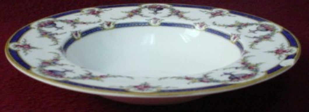 ROYAL WORCESTER china ROSEMARY DARK BLUE pattern Rim Soup or Salad Bowl @ 8