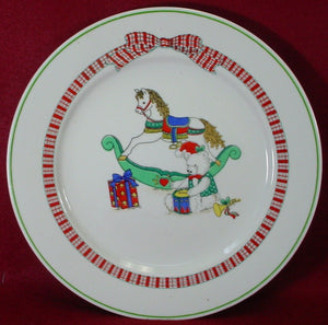 ALCO Industries China CHRISTMAS PLAID pattern DINNER PLATE 10-1/2""
