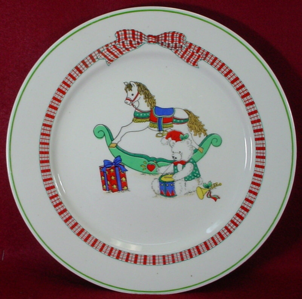 ALCO Industries China CHRISTMAS PLAID pattern DINNER PLATE 10-1/2