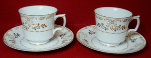 HARMONY HOUSE china CLASSIQUE GOLD pattern Cup & Saucer - Set of Two (2) - 3""