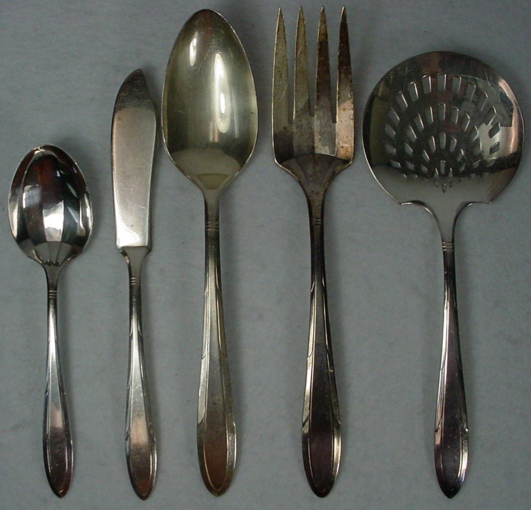 ONEIDA Silver REVERIE 1937 silverplate 5-pc HOSTESS or SERVING Set