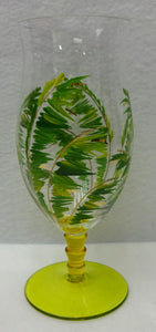 PALM LEAVES - Six (6) 20-oz Yellow Footed Hurricane or Iced Tea Glasses - 8-1/4""