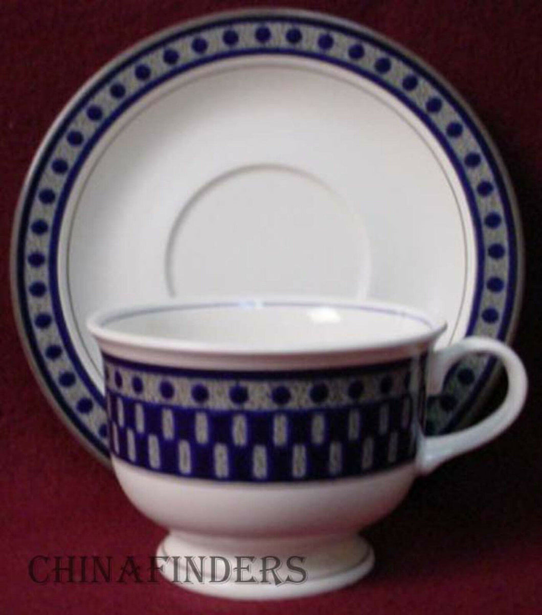 MIKASA china AZTEC BLUE CB009 pattern Cup & Saucer - Set of Two (2)