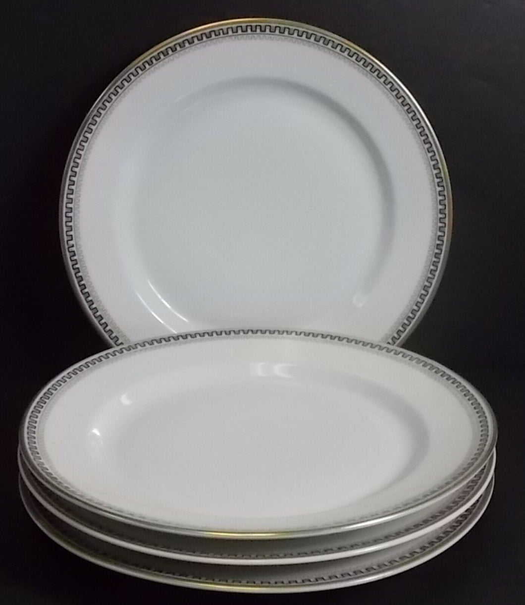 HEINRICH/H & C china HC17 Greek Key/Manchester Four (4) Salad Plates @ 7-3/4