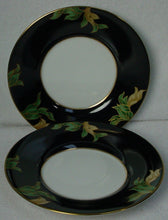 FITZ & FLOYD china CLOISONNE PEONY Black Saucer - Set of Two (2)