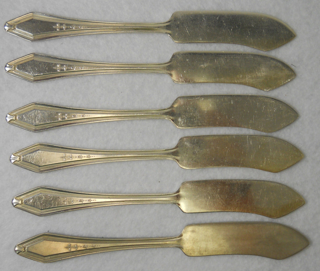 CONTINENTAL Silverplate TWO pattern Butter Spreader - Set of 6 - 5-7/8