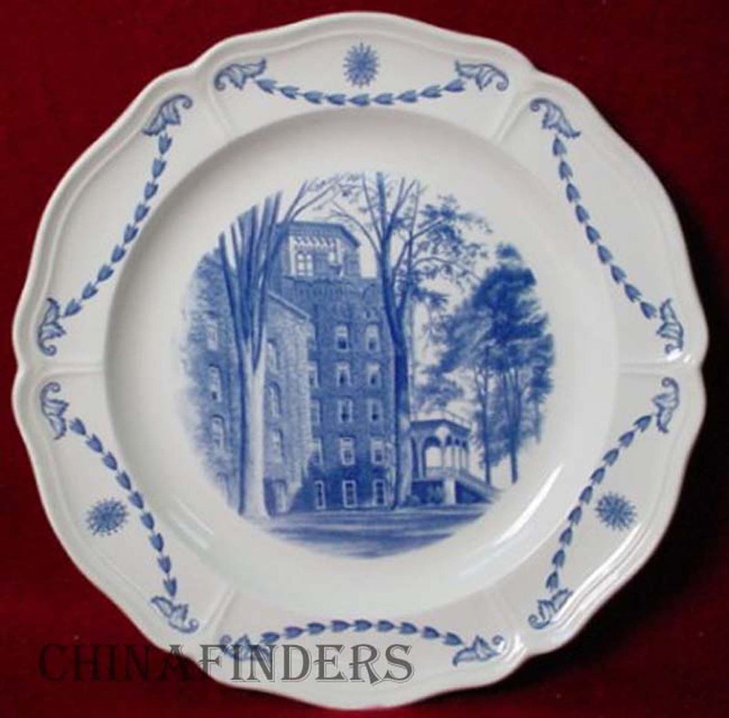 WEDGWOOD china ELMIRA COLLEGE BLUE pattern Dinner Plate - Ivy Cowles Hall