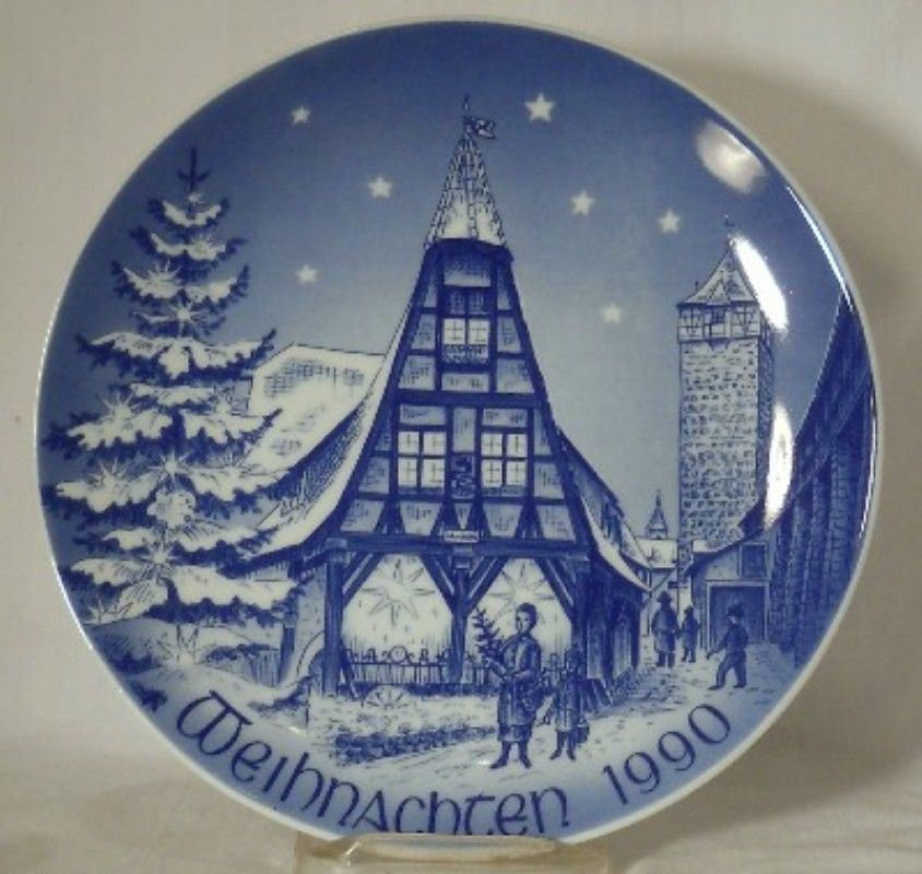 BAREUTHER Bavaria 1990 CHRISTMAS Collector Plate OLD FORGE IN ROTHENBURG 7-3/4