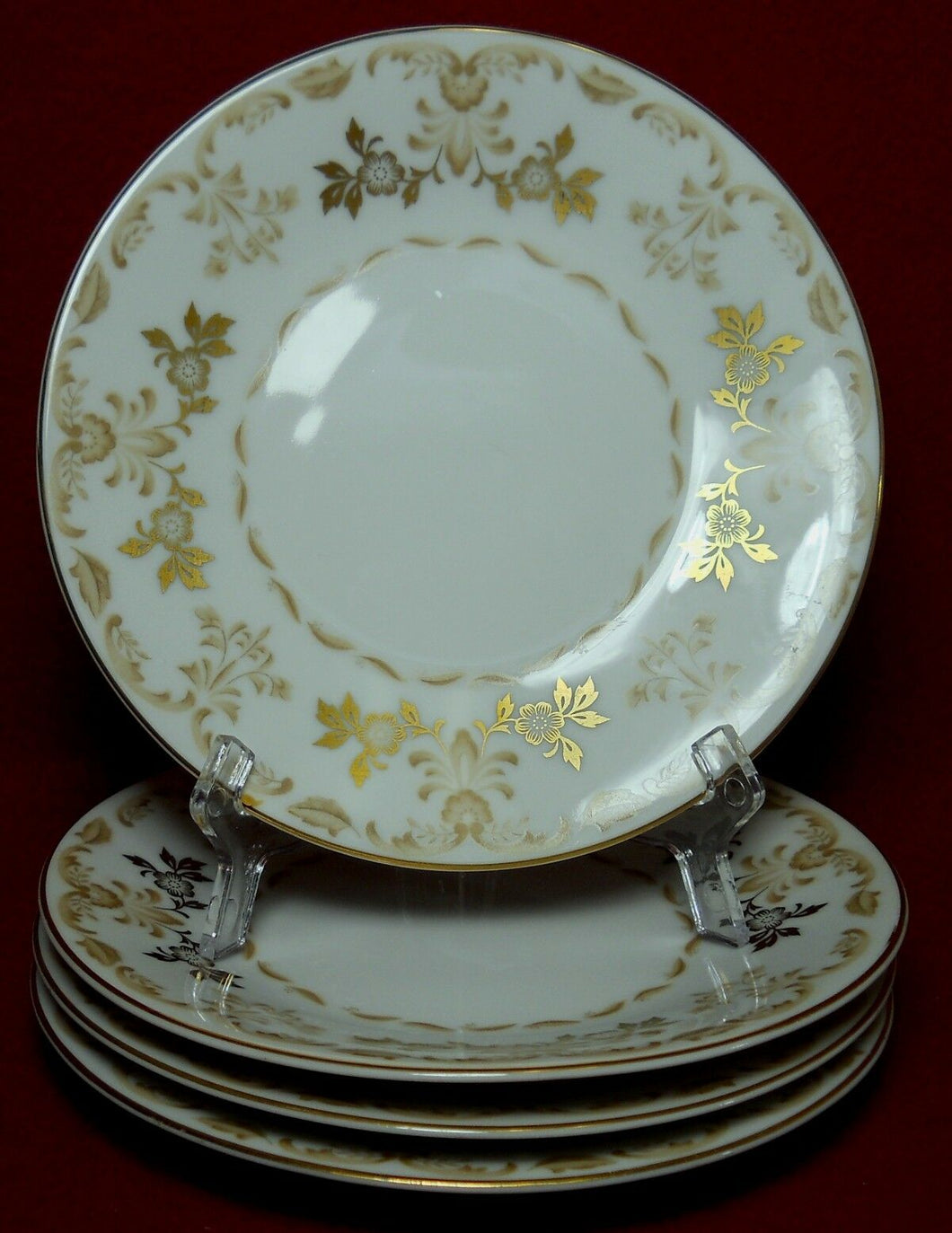 HARMONY HOUSE china CLASSIQUE GOLD pattern Bread Plate - Set of Four (4) - 6